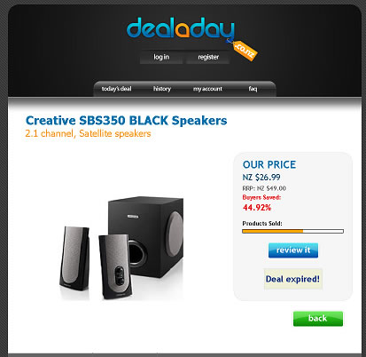 Deal a Day Homepage Screenshot