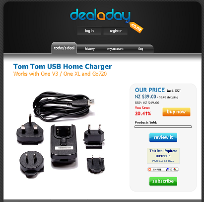 Deal a day tom tom usb home charger