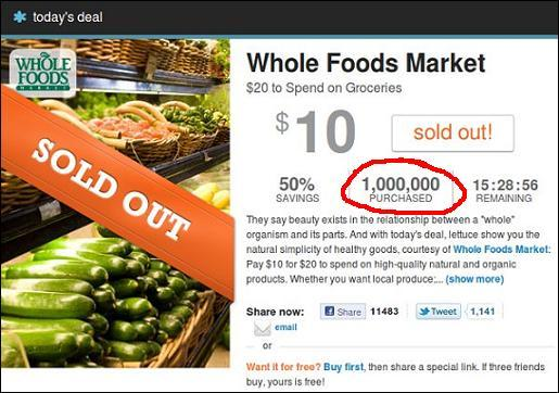 living social whole foods 1 million
