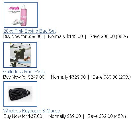 trademe daily deals with pink boxing bag, gutterless roofrack and logitech keyboard