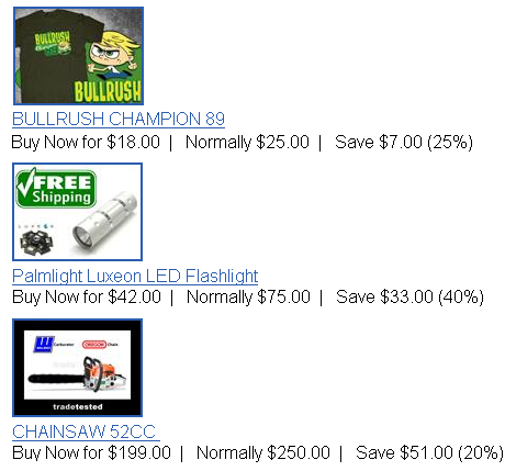 Daily Deals from Trademe bullrush tshirt chainsaw and led torch